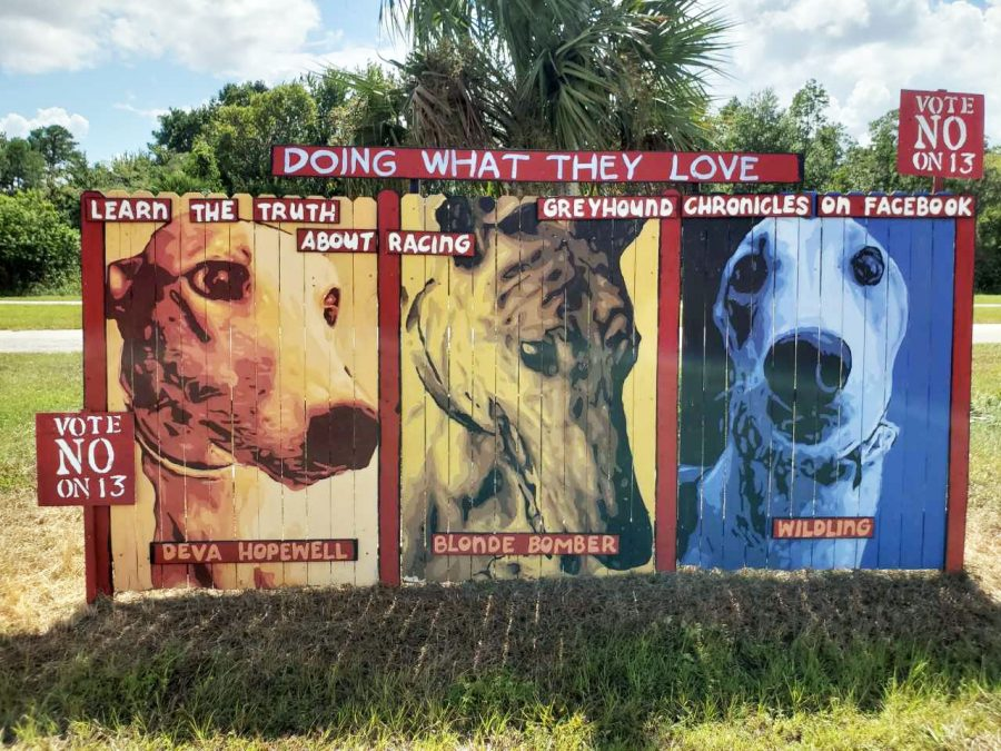 These+fences+were+made+by+the+well+known+artist%2C+Jeff+Sonsken.+They+were+placed+in+front+of+the+Sanford-Orlando+Kennel+Club+to+convince+people+to+vote+No+on+the+13th+Amendment.