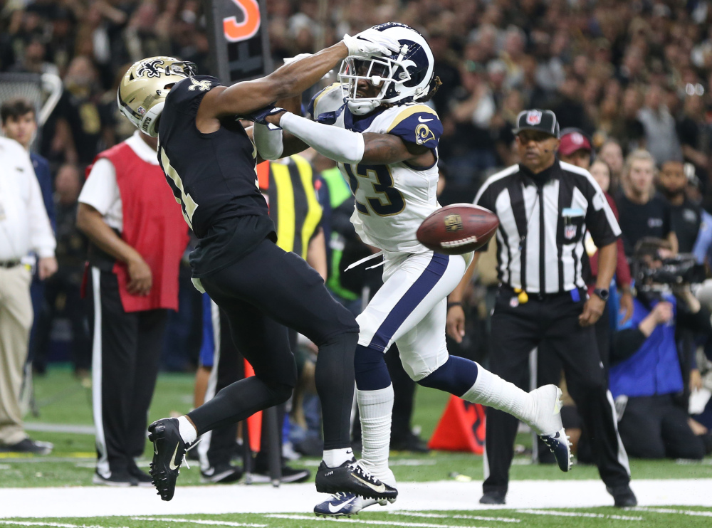 Jan 20, 2019; New Orleans, LA, USA; Los Angeles Rams defensive back Nickell Robey-Coleman (23) breaks up a pass intended or New Orleans Saints wide receiver Tommylee Lewis (11) during the fourth quarter of the NFC Championship game at Mercedes-Benz Superdome. Mandatory Credit: Chuck Cook-USA TODAY Sports